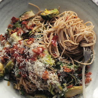 Spaghetti With Brussels Sprouts And Pancetta Cream.