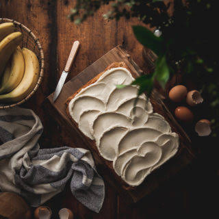 One-bowl Browned Butter Banana Cake + Mascarpone Buttercream.