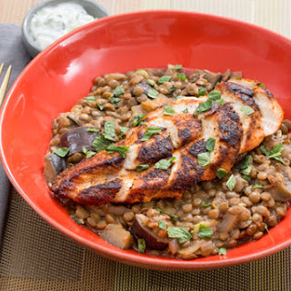 Tandoori-Spiced Chicken with Green Lentils, Eggplant & Cucumber-Mint Yogurt