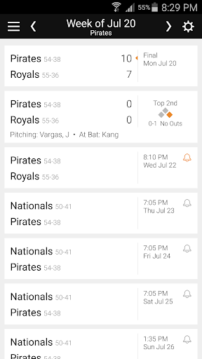 Baseball Schedule for Pirates