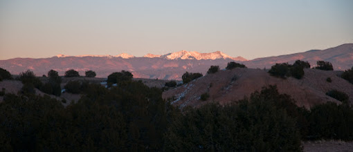 Photo: Sangre de Cristo mountains, across the valley from Los Alamos, at sunset