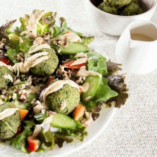 Baked Almond Crunch Falafel Bowl with Two Second Dressing