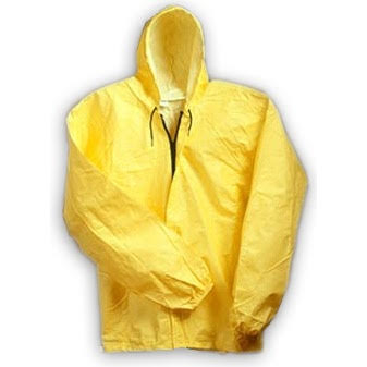 O2 Yellow Hooded Rain Jacket With Drop Tail