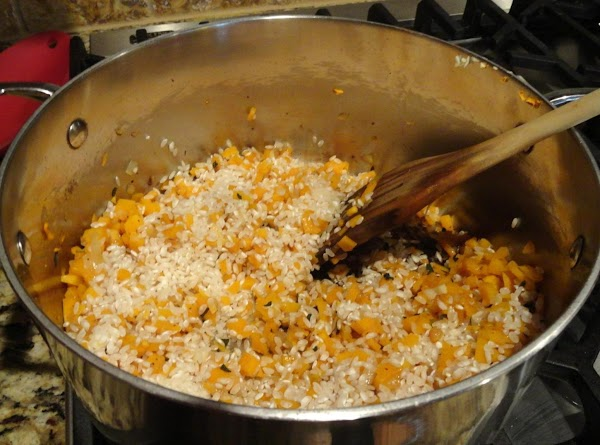 Add the rice to the vegetables and cook for 3 minutes or so until...