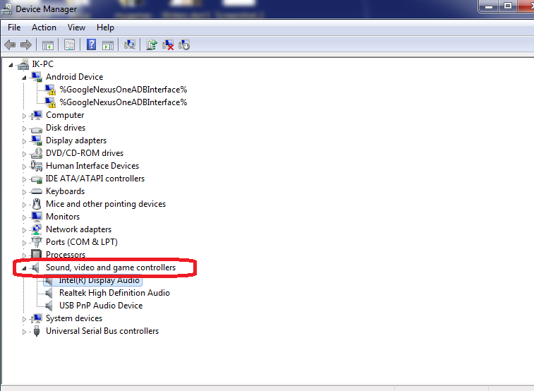 Checking Audio drive on the device manager