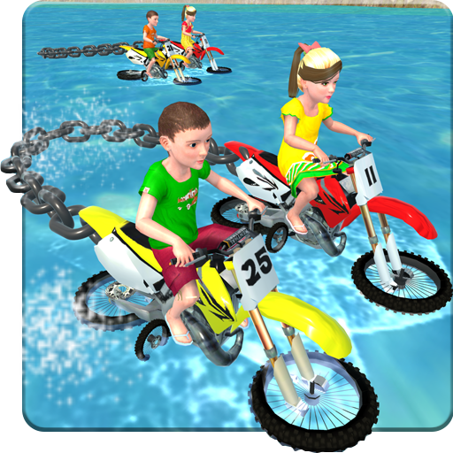 Kids Water Surfing Chained Bike Race