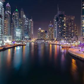 by Shabbir Shani - City,  Street & Park  Night ( luxury, skyline, life, mydubai, night photography, marina walk, expo2020 city, dubai, skyscrapers, shabbirshaniphotography, long exposure, dubai marina )