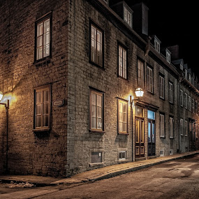 A single street in Old Quebec by Clermont Poliquin - Buildings & Architecture Public & Historical ( night lights, pwc83: night light )