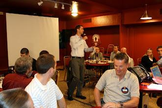 Photo: Membership Chair Adam Moons introduced the new members