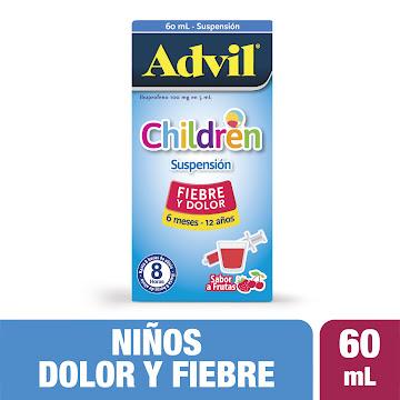 ADVIL CHILDREN Frutas   100mg/5Ml. Sus. Oral Fco. x60Ml. PFI Ibuprofeno
