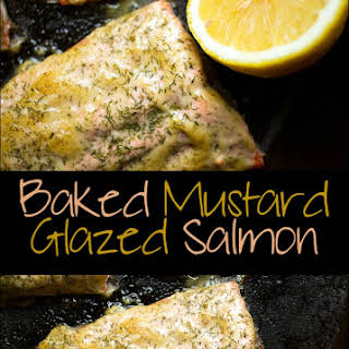 Baked Mustard Glazed Salmon Fillets.