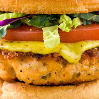 Salmon Burgers with Creole Mustard.