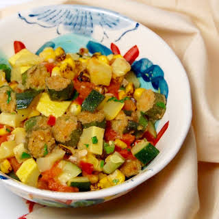 Fried Okra with Corn, Tomato and Squash Sauté.