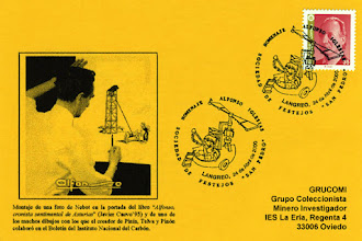 Photo: Tarjeta del matasellos homenaje a Alfonso Iglesias en Langreo en 2000