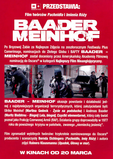 Tył ulotki filmu 'Baader-Meinhof'