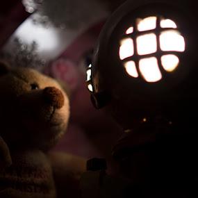 Welcome Friend by Simon Gilgallon - Digital Art Abstract ( diver, light orb, teddy bear, lightsphere, lighthouse, shining, helmet, toy story, light house, toys, lightroom, light bulb, light )