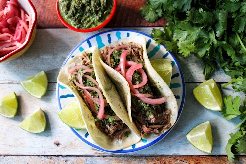 Pulled Pork Tacos With Pickled Red Onions and Cilantro Pesto