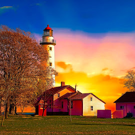 Pte. Aux Barques Lighthouse at sunrise by Bill Diller - Digital Art Places ( digital, sunrise, lighthouse, michigan, nature, great lakes, yellow, tranquil, pte.aux.barques, colors, peaceful, pte.aux barques lighthouse, michigan's thumb, calm, buildings, calmness, thumb of michigan, tranquility, lake huron )