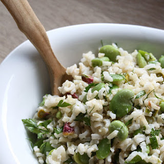 Fresh Fava Beans And Brown Rice Salad.
