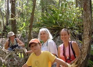 Photo: 2003 on the Ironwood Forest Swamp 'Trail' - pinnacle rock phytokarst: Satu Suominen Troyer, Matti Troyer, Lois Blumenthal, Carla Reid. Photo: Ann Stafford, Grand Cayman, May 6, 2003
