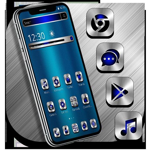 Blue Silver Metal Launcher Theme