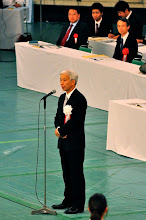 Photo: The Doshu giving the welcoming speech.