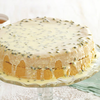 Sponge Cake with Passion Fruit Icing.