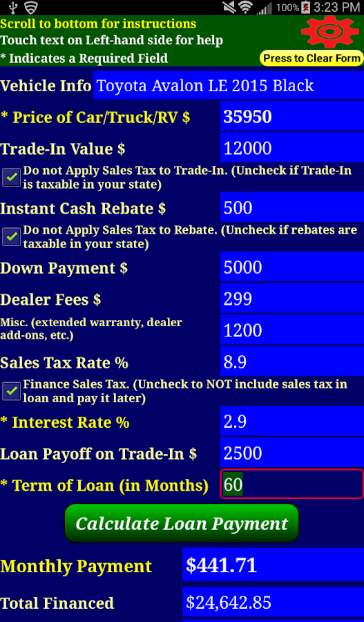 Car Loan Payment Calc Pro- screenshot