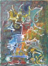 """Photo: """"Pigalle la nuit"""". Huile sur toile, 33x24cm, format vertical."""
