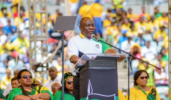 ANC President Cyril Ramaphosa at the party's election manifesto and birthday celebrations at the Moses Mabhida Stadium in Durban.