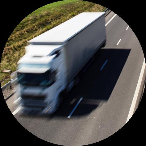 Sem itruck driving down highway