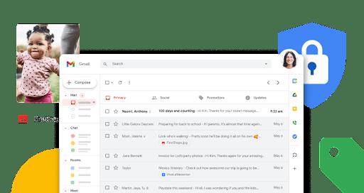Zaslon Gmailove pristigle pošte s povećanim ikonama funkcija koje su raspoređene vodoravno