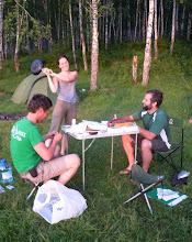 Photo: Our first night of camping, and Yulia is really excited about how she's spending her vacation