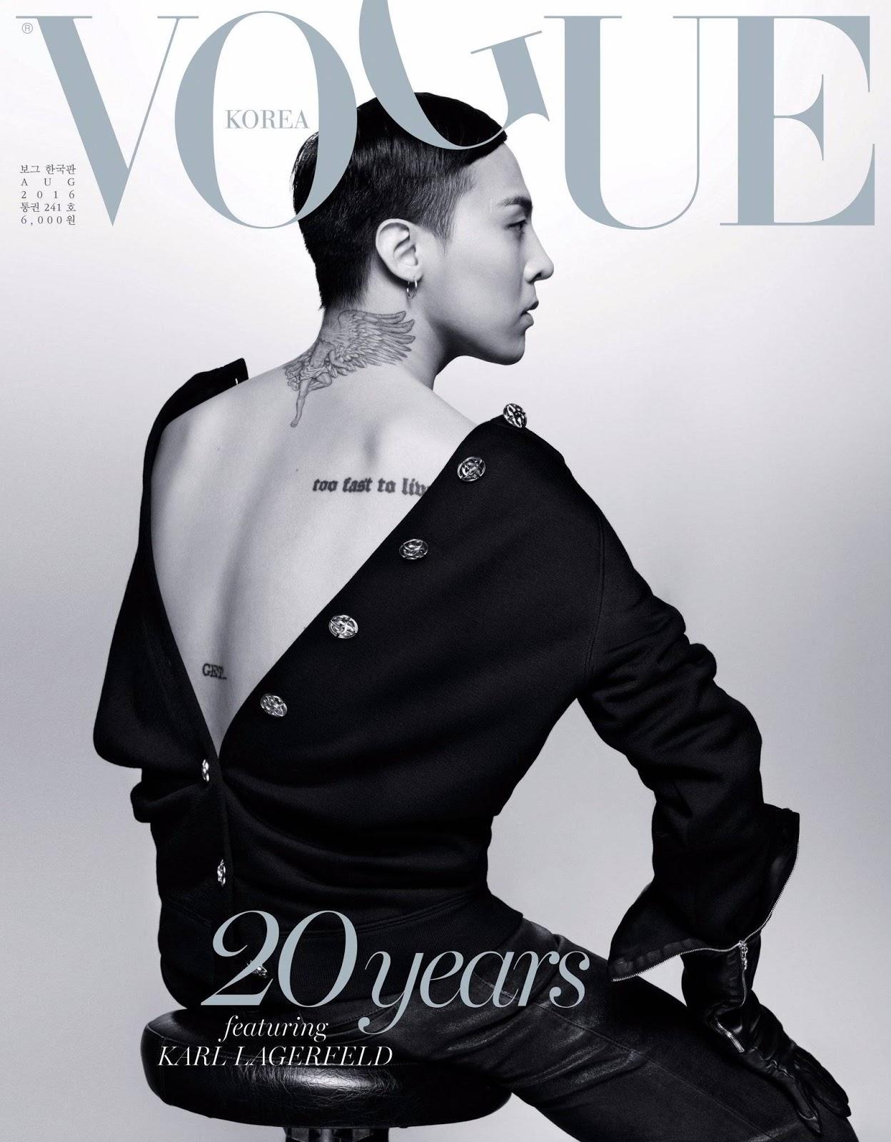 G Dragon Vogue Korea August 2016 Covers Karl Lagerfeld