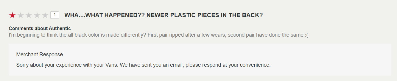 A one-star review on a pair of Vans shoes, followed by the merchant replying that they've sent a follow-up email to the customer.