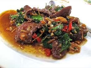 """Photo: ...""""pad chah nok krajok tehd"""" (sizzling stir-fried ostrich with aromatic herbs and chillies"""") ..."""