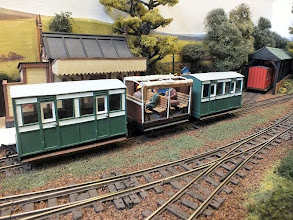 Photo: 024 A closer look at the two Glyn Valley style 4 wheel coaches and the very attractive toastrack open coach that reminds me very much of a 3 compartment one that PD Hancock had on his legendary Craig & Mertonford 4mm scale layout way back in the 1950's