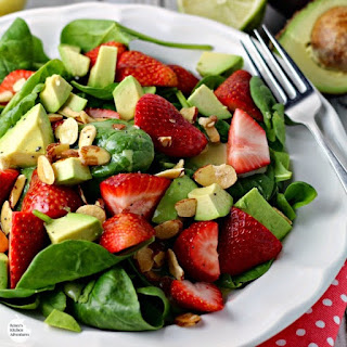 Strawberry, Avocado, and Spinach Salad with Lime Poppy Seed Dressing.