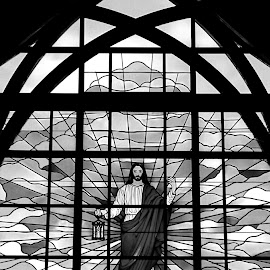 The Ascension 1 Black And White by RMC Rochester - Black & White Buildings & Architecture ( abstract, window, black and white, random, object, architecture, people,  )