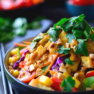 Thai Buddha Bowl with Peanut Red Curry Sauce.