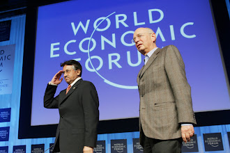 Photo: DAVOS/SWITZERLAND, 26JAN06 - Pervez Musharraf, President of Pakistan, and Klaus Schwab, Founder and Executive Chairman, World Economic Forum, captured during the Special Address at the Annual Meeting 2006 of the World Economic Forum in Davos, Switzerland, January 26, 2006. 