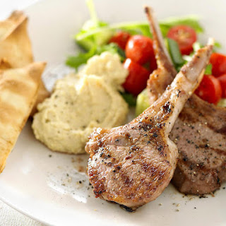 Grilled Lamb with Hummus
