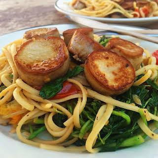 "King Oyster Mushrooms ""Scallops"" with Lemon-Garlic Linguine."