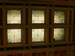 Photo: The six panels of stained glass over the foyer of the main entrance.