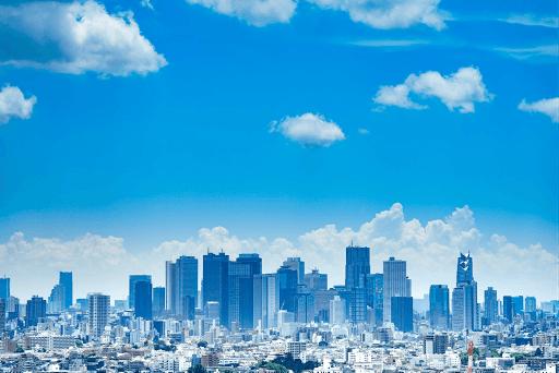 japon Tokyo ciel nuages bleu ville building