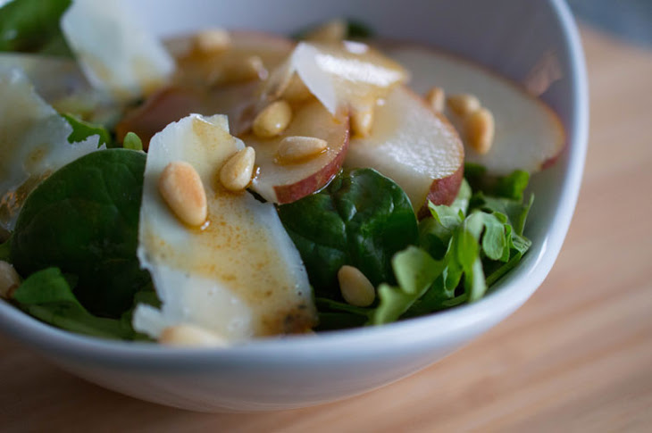 Italian Salad with Pears, Shaved Parmesan and Honey-Balsamic Vinaigrette Recipe