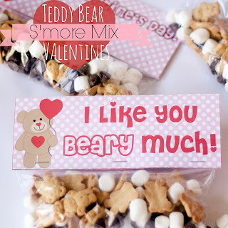 Teddy Bear S'more Mix Valentines (with Free Printables)