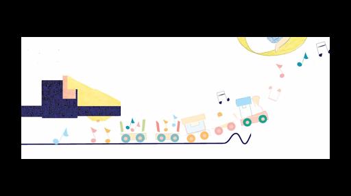Train musique - détail illustration - Affiche personnalisée - tournedisque - Chambre d'enfant