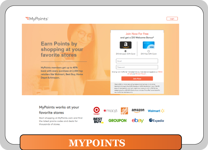 mypoints home page for survey