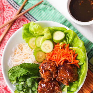 Vietnamese Noodle Bowl with Tofu Meatballs and Soy-Lime Dressing.